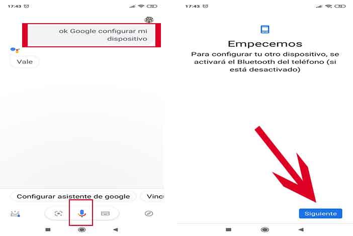 Ok Google Configurar mi dispositivo cercano