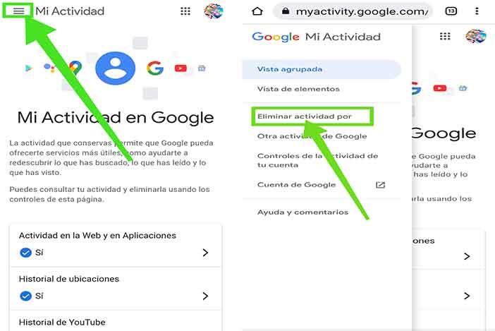 my activity google borrar